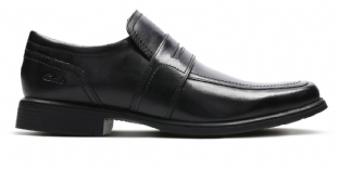 Clarks Mens Huckley Work Black Leather Shoes